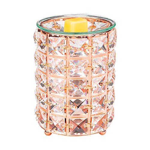 Crystal Wax Warmer,Hollow Electric Fragrance Candle Warmer for Warming Scented Candles,Wax Melts - Spa,Aromatherapy (Rose gold)