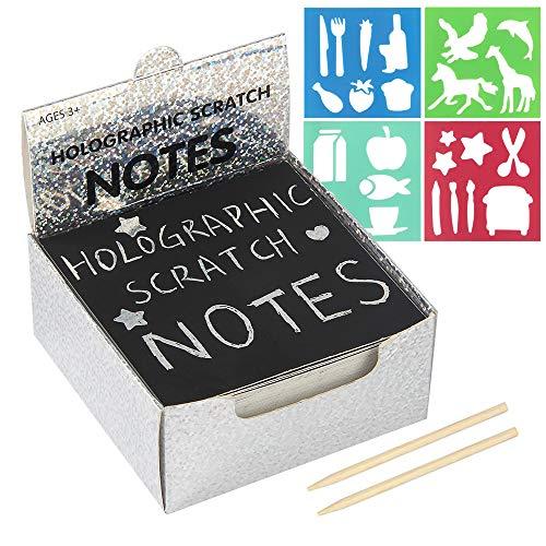 100Pcs Kratzbilder für Kinder Regenbogen Scratch Art Kratzpapier Kombi Kunst Set mit 4 Schablonen 2 Holzstiften für Weihnachten Geburtstage Partys Farbe Silber