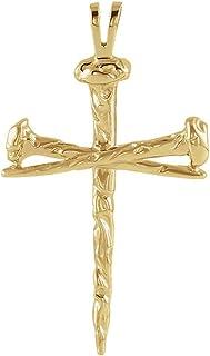 Men's 14k Yellow Gold Polished Nail Cross Pendant