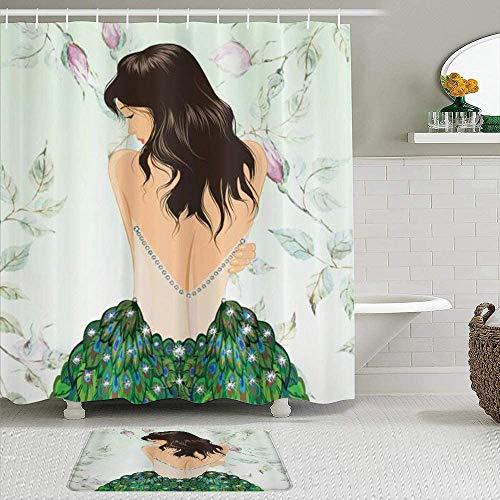 Shower Curtain-Anime Peacock Fashion Girl in Rhinestones Roses Feathers Girly Models Fashionista, Bathroom Shower Curtains Bathroom Decor 72x72