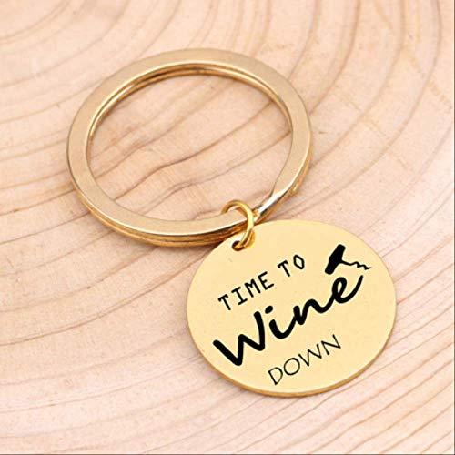 MEIHEK Schlüsselbund Modeschmuck Gravierte Weinglas Zeit, Wein nach unten Schlüsselbund Schmuck Edelstahl Schlüsselring für Freunde Geschenk Schlüsselanhänger Gold