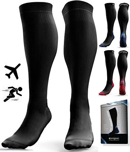 Compressiekousen - kousen compressie - loopsokken - lymfekousen voor dames en heren - lopen, sporten, skilopen, vliegen, reizen en zwangerschap (Zwart, S/M (35-42))