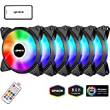 upHere 6-Pack 120mm Silent Intelligent Control RGB Fan Adjustable Colorful Fans with Controller and Remote,T6C63-6