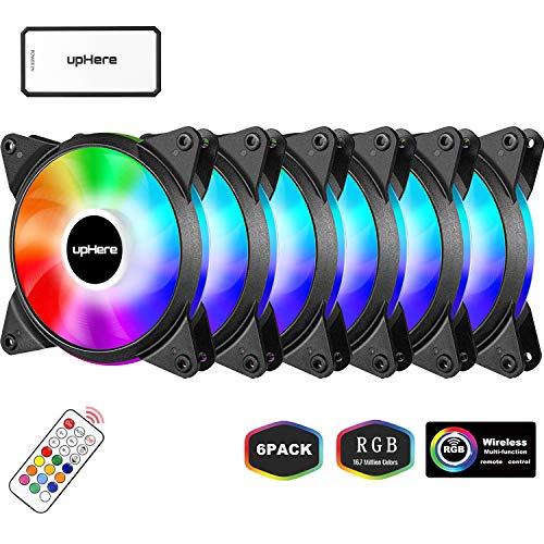 upHere Alto Rendemento Ventilador de PC 120mm - RGB LED Ventilador para Ordenador con Mando a Distancia,Paquete de 6/T6C63-6