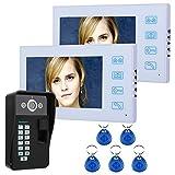 HBHYQ 7-Zoll-TFT-Monitor 2 Fingerabdruckerkennung RFID Passwort Video-Türsprechanlage...
