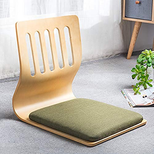 NanXi Japanischer Legless Bodenstuhl, Holz Tatami Meditation Stuhl Erkerfenster Lounge Chair fauler Couch zum Lesen Fernsehen,Grün