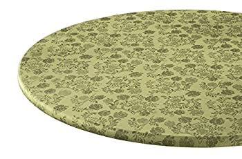Fox Valley Traders The Kathleen Vinyl Elasticized Table Cover by HSKTM 45  - 56  Dia Round