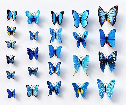 3D Papillon 12 PIÈCES Autocollants Faisant autocollants Autocollant Mural Loisirs créatifs Papillons - Bleu, 1 - Pack: 12 PCS