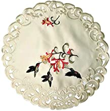 Doily Boutique Round Doily with Hummingbirds on Ivory Material, Size 11 inches