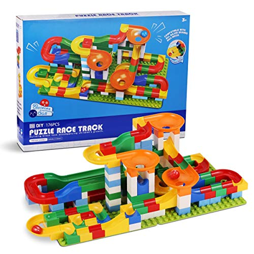 Marble Run Building Blocks 176 Piece,Marble Race Track for 3+ Year Old Boys and Girls,Marble Roller Coaster Construction Toys,Marble Roller Coaster Run Sets for Kids Age 4 5 6+ with 6 Marbles Balls