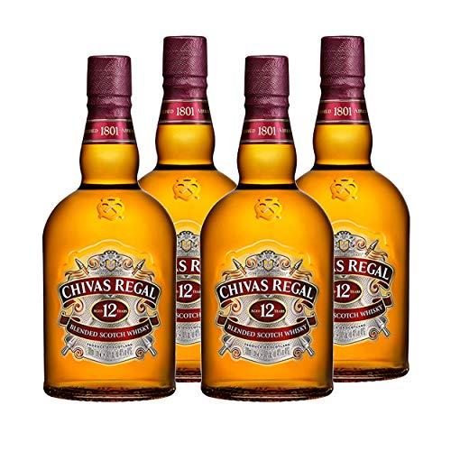Chivas Regal 12 Jahre Blended Scotch Whisky 4er Set, Whiskey, Schnaps, Spirituose, Alkohol, Flasche, 40 %, 4 x 1 L