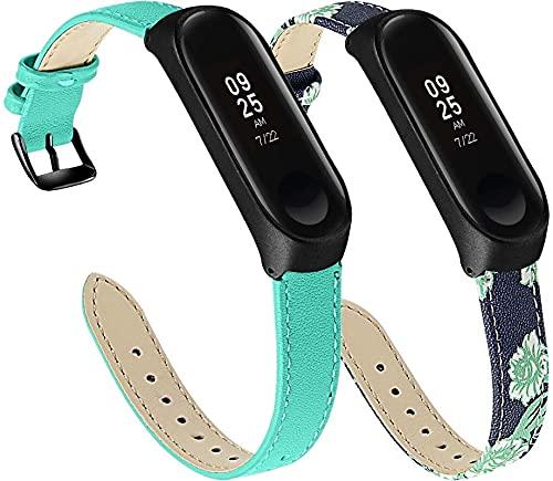 Correa de Reloj Compatible con Xiaomi Mi Band 3 / Mi Band 4 / Mi Smart Band 4 / Mi Fit Band 4, Reloj de Pulsera de Piel auténtica, Estilo Vintage (2-Pack J)
