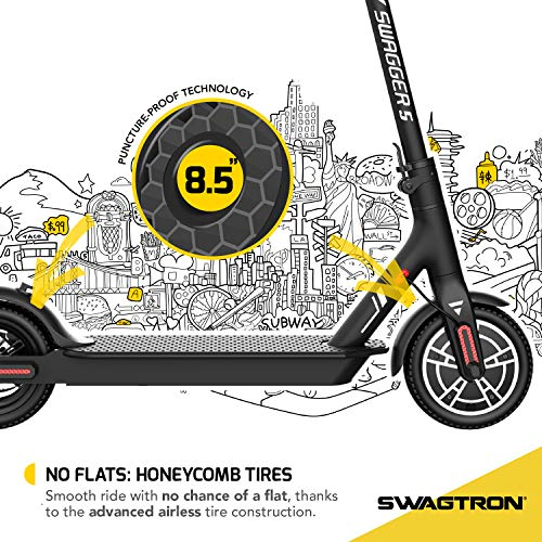 SWAGTRON App-Enabled Swagger 5 Boost Commuter Electric Scooter with Upgraded 300W Motor and 1-Click Quick Folding | Reach Max. Speeds up to 18 MPH with Enhanced Battery for Extended Rides