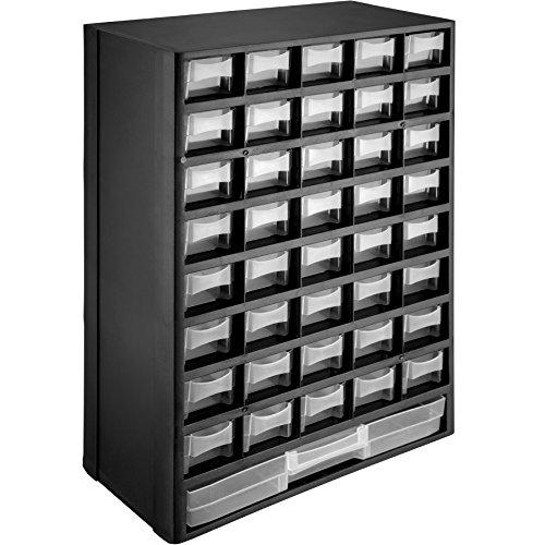 TecTake 402873 - Sortimentskasten, 41 transparente Schubfächer, Vorrichtungen zur Wandmontage
