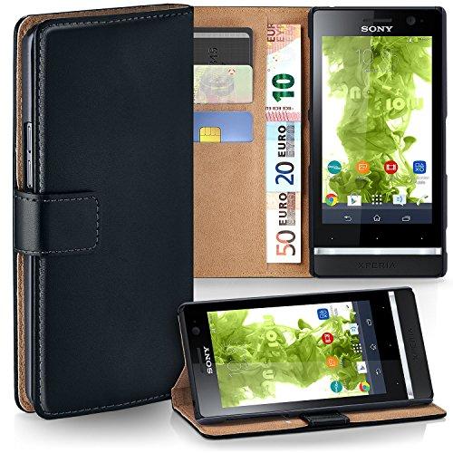 MoEx® Cover a Libretto Compatibile con Sony Xperia U | Fessura Carta + Soldi, Supporto, Nero