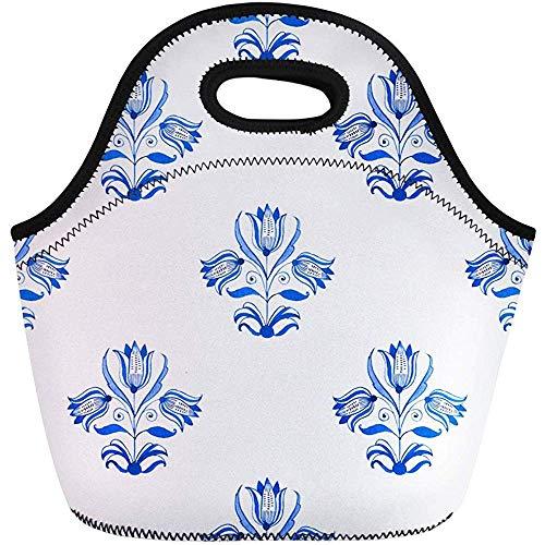 Neopreen lunchtas, donker blauw aquarel traditionele Nederlandse bloemenboom tulpen kobalt reizen/kantoor handtas, herbruikbare picknicktas, draagbare draagtas