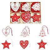 BELLE VOUS Suspension Sapin de Noël en Bois (30 Pcs) - Décoration Sapin de Noel 6 Modèles x 5 Pcs Coeur, Sapin et Etoile Blancs et Rouges avec Ficelle Rouge dans Une Boite de Rangement