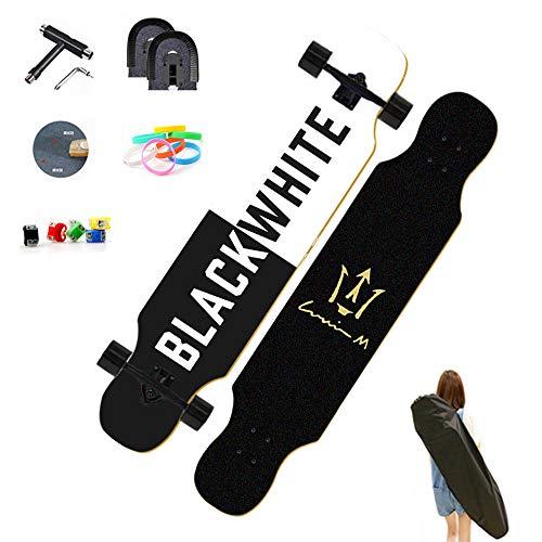 WRISCG Longboard Skateboard Cruiser 107×25cm Komplettboard, 8 Schichten Ahorn Board, High Speed ABEC Kugellagern, Drop-Through Freeride Skaten Cruiser Boards, für Anfänger Erwachsene Teen,VOMI,C