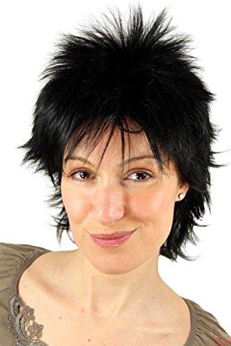 WIG ME UP ® - 26155-1 Perücke, Wig, schwarz, frech, 80er, NDW, 25cm