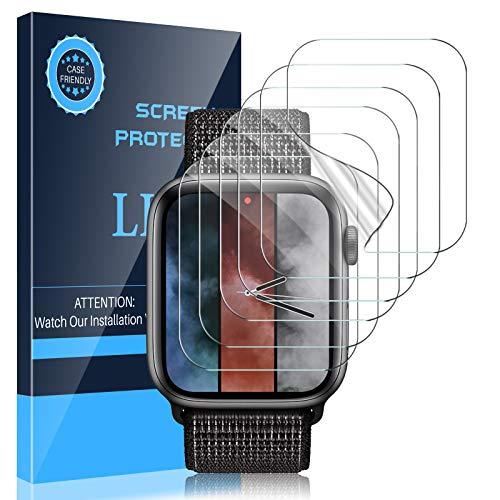 LK Paquete de 6 protectores de pantalla compatibles con Apple Watch Series 6, 5, 4, SE, 1.732in, Series 7, 1.772in, TPU flexible, HD, transparente, sin burbujas (UF-010)