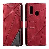 Hülle für Samsung Galaxy A20E, SONWO Premium Leder PU Handyhülle Flip Hülle Wallet Silikon Bumper Schutzhülle Klapphülle für Galaxy A20E, Rot