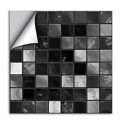 LUOQI 25 Piezas Pegatinas de Pared PVC, Pegatina De Pared De Mosaico 3D, Azulejos Adhesivos Resistente Calor Impermeable Protector contra Salpicaduras para Sala Cocina Mosaico Azul