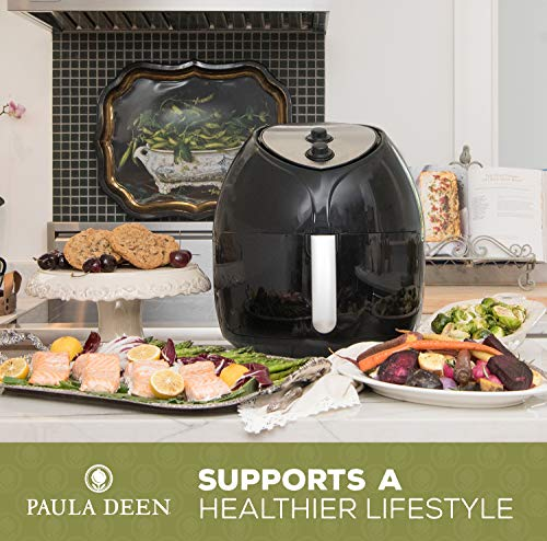 Paula Deen 9.5 QT (1700 Watt) Family-Sized Air Fryer, Rapid Air Circulation System, Single Basket System, Ceramic Non-Stick Coating, Simple Knob Controls, 50 Recipes, 1-Year Warranty (Black)