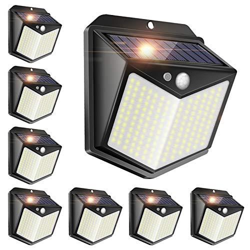 Luz Solar Exterior【8 Pack 140 LED】Focos Led Exterior con Sensor de Movimiento con Wireless IP65 Impermeable,Luces Led Solares Para Exteriores Para el Jardín,Garaje,Valla