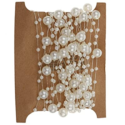 MagiDeal 5M Fishing Line Pearl Bead Chain Trim DIY Decoration Beige from MagiDeal