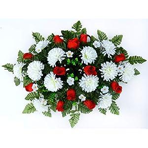 spring cemetery saddle arrangement – white mums & red roses silk flower arrangements