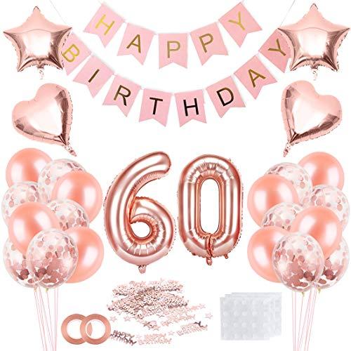 Bluelves 60 Geburtstag Deko, 60. Geburtstag Dekoration, 60 Jahr Geburtstagdeko, 60 Ballon Deko, Luftballon 60. Geburtstag Deko, 60 Geburtstag Mädchen, 60 Geburtstag Frau, Deko 60 Geburtstag Frau