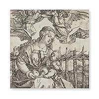 INVO デュラーヴァージンメアリーが2人 天使に冠を戴く アートパネル アートフレーム キャンバス印刷 インテリア モダン 壁掛け 40×40cm