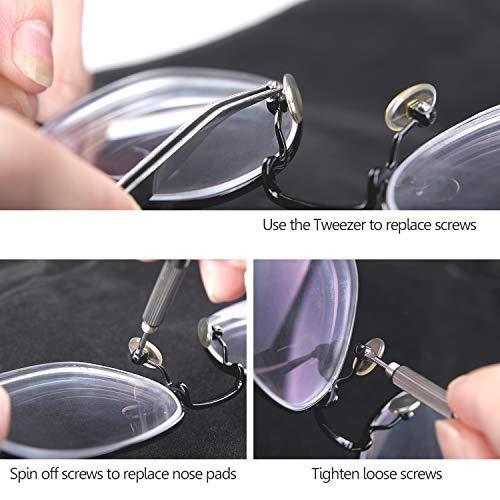 HQMaster 1000Pcs Eyeglasses Sunglass Spectacles Tiny Screws Nut Assortment Repair Tool Kit Set with Tweezer Micro Screwdriver (Round Case)