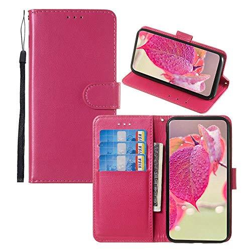 JZ [Cores sólidas][Corda de pulso] Capa carteira protetora para Sony Xperia XZ2 Premium Wallet Flip Phone Cover - Vermelho rosa