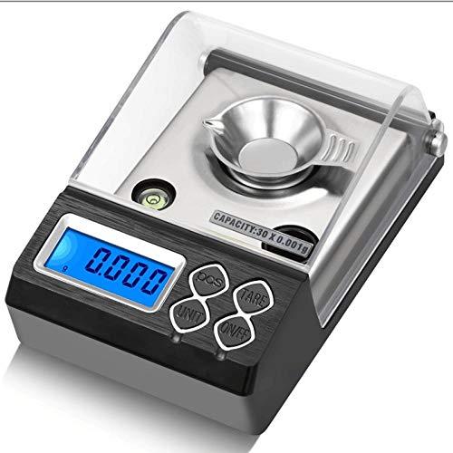 20g 30g 50g 0.001g Precisión Básculas electrónicas portátiles de joyería Balance de germen de oro 0.001g Contador digital Quilates Escala de miligramos 30g 0.001g