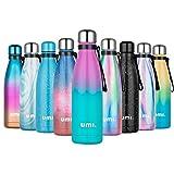 UMI. by Amazon - Borraccia Termica 500ml, Porta Bottiglia Termica Acqua Isolata, Borracce Termiche Alluminio Acciaio Inox, Riutilizzabile Borraccia Sportiva Senza BPA, Blu&Rosa