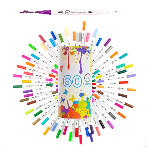 Dual Tip Brush Marker Pens-60 Colors Dual Brush Pens Set Art Brush Markers with Fine Tip and Highlighter, Adult Coloring Markers Calligraphy Taking Notes Drawing Art Projects