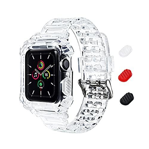 KIMOKU コンパチブル Apple Watch バンド 38mm 40mm 42mm 44mm 一体型 ソフト クリスタル TPU素材 耐衝撃ベルト 保護ケース 全面保護 コンパチブル アップルウォッチ バンド コンパチブル iWatch Series SE/6/5/4/3/2/1 (38mm/40mm クリア)