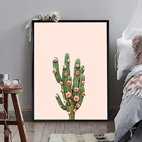 Cartel botánico Cactus Póster de Lienzo Reloj Minimalista Estilo nórdico Arte de Pared Impresión de Pintura Cuadro Decorativo Decoración para el hogar 23.6