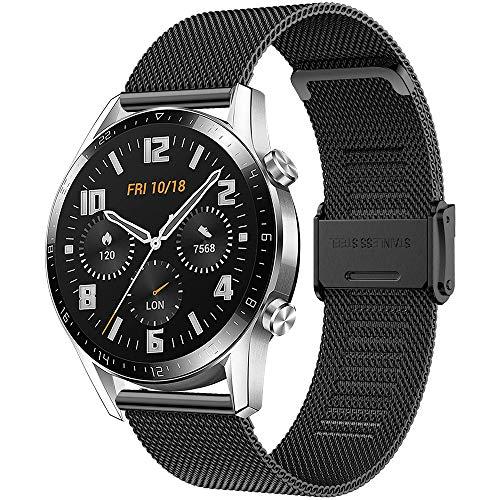 Songsier Armband Kompatibel mit Huawei Watch GT2 Pro 46mm/Watch GT 46mm/Watch GT Active/Watch 2 Classic/Galaxy Watch 3 45mm/Galaxy Watch 46mm/Gear S3/Gear 2, 22mm Rostfreier Stahl Ersatzarmband
