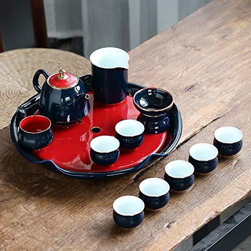 FNCUR Tea Set, High White Clay Hand-painted Gold Tea Cup, Large Lotus Tea Tray, Tea Tray Gift Set, 12 Large Tea Sets