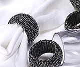 Baumwolle-Klinik Glas Serviettenringe 12 Stück Schwarz serviettenringe für hochzeit, weihnachten, täglicher Gebrauch, Abendessen, Tischgesellschaft Dekor - 4