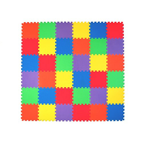 Non-Toxic Extra-Thick 36 Piece Children Play & Exercise Mat - Comfortable Cushiony Foam Floor Puzzle Mat, 6 Vibrant Colors for Kids & Toddlers