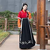 Hanfu vintage para mujer, vestido chino bordado de manga larga Hanfu para sesiones de fotos Disfraces de Navidad para mujer, M