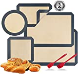 Silicone Baking Mats, Set of 7, BPA-Free Food Grade Reusable Baking Mat Professional Non-stick Pastry Mat Oven Liner Sheets Mats Silicone pan liners Square Cake Pan Mat Silicone Oil Brush &Knife