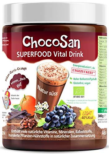 ChocoSan Superfood Vital Drink, Bio Getränkepulver Mischung aus Kakao, Carob, Hagebutten, Kurkuma, 32% Ballaststoffe für Verdauung, Energie Booster, low carb, kalorienarm, vegan, 300g