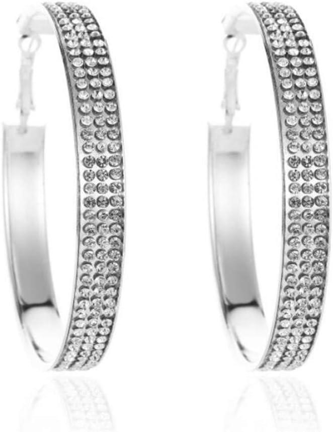 Huangyong Temperament Crystal Nightclub Clip on Earrings Rhinestone Gradient Hoop Loop Earrings,White K Three-Layer White Diamond Large