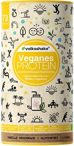 VEGANES PROTEIN - Double VANILLA   Volksshake   1.1 kg   glutenfrei & sojafrei   mehr Inhalt   Natürlich mit Mandel-, Reis-, Hanf-, Chia- & Kürbiskernprotein