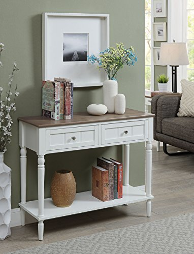 Convenience Concepts French Country Two Drawer Hall Table, Driftwood / White