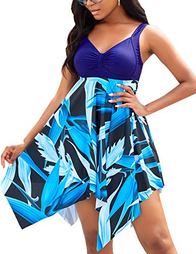 BUCOTA Swimsuits Swimdress for Women Athletic Two Piece Plus Size Tankini Bathing Suits, Blue, XXL